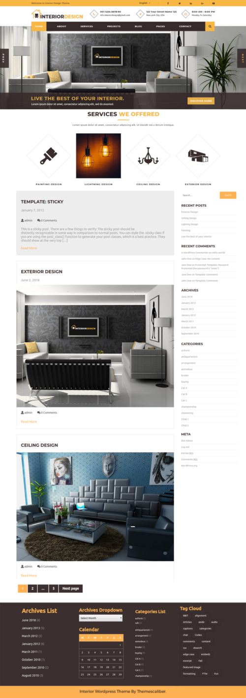 Free Interior Design WordPress Theme