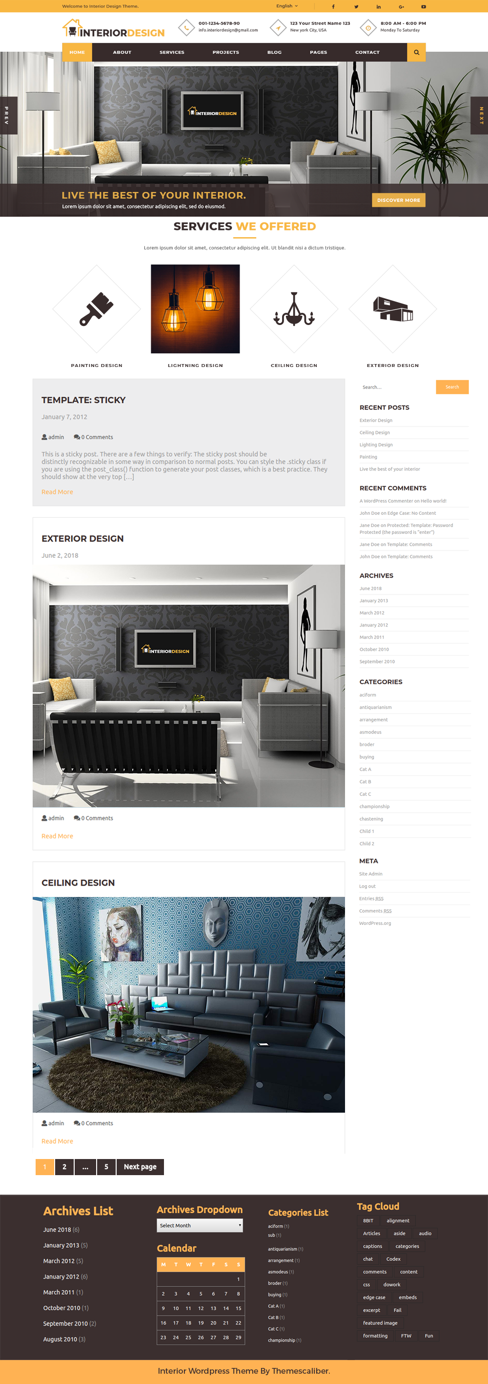 A free interior design wordpress theme with great look and feel for Interior design wordpress theme