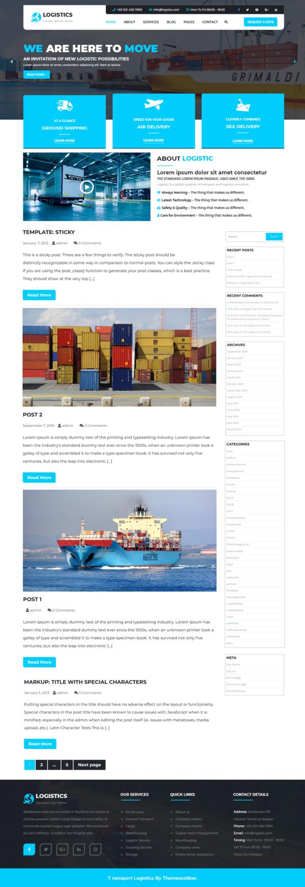 Free Logistics WordPress Theme